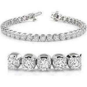 Round diamond tennis bracelet white gold 14K women